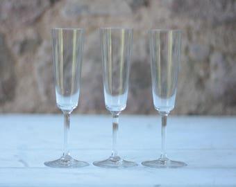 3 Vintage French Crystal Champagne Flutes