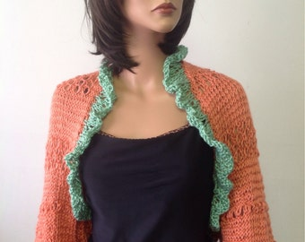 Hand Knit Shrug Shawl Scarf Sweater Tangerine Orange Mint Green