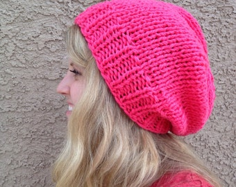 Peony Pink Slouch Beanie Knit Hat