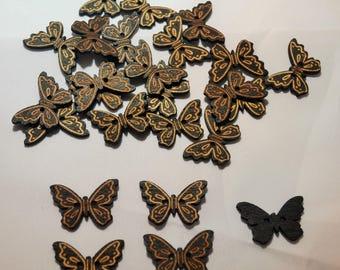 10 x Black/Gold Butterfly Wooden Buttons - 20mm x 13mm