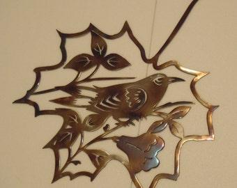 Bird Inside a Leaf Contour, Heat Colored Metal Art, Wall Decor, Decoration, Great Gift