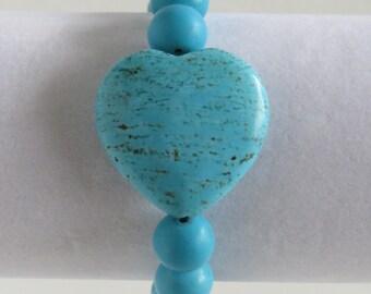 Blue Heart Turquoise Bracelet