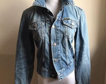 Jahrgang DIESEL Jacke | Frauen beschnitten Jeansjacke | 80er/90er Jahre Diesel Jacke hergestellt in Italien | Stonewashed Denim Jacke | Motorrad