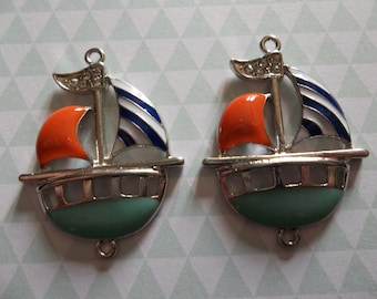 Nautical Jewelry Connectors - Silver & Colorful Enamel Sailboat Pendants or Charms with Rhinestones and 2 Loops - 30 x 34mm - 2 pieces