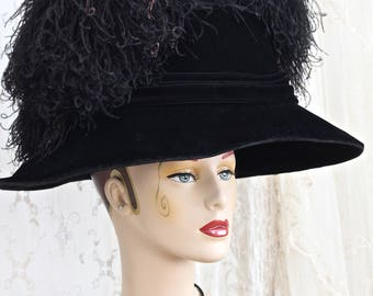 Whynaughtshop Opulent Antique Silk Velvet Hat / Huge Lamp Shade Hat / Feather Plumes / Antique Hat / Titanic Era / Museum