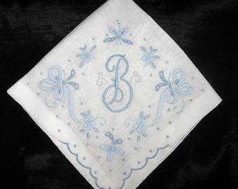 Handkerchief monogrammed initial letter, Wedding Hankies, Vintage Hankerchief Hanky Heirloom Keepsake