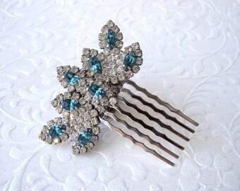 Island Paradise Aqua Rhinestone Hair Comb Jeweled Hairpiece Beach Wedding Something Blue Vintage Jewelry Headpiece Formal Pageant Ballroom