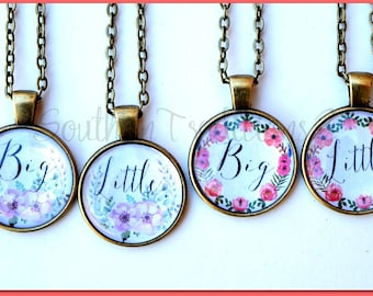 Sorority Necklace - Big Little Necklace - Watercolor Floral Necklace - Floral Necklace
