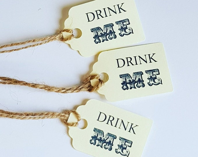 Drink me favour tags pack of 20 Alice in wonderland weddings baby showers