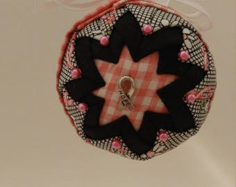 Pink, Black & White folded fabric handmade ornament with Ribbon of Hope