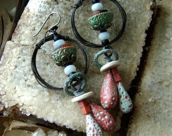 rustic assemblage earrings, one of a kind mixed media jewelry, unique, polymer headpins, hoop earrings, black turquoise red, Anvil Artifacts