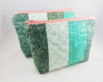 GREEN QUILTED Cosmetic bag | Travel Size bag | Zipper Pouch | Makeup bag