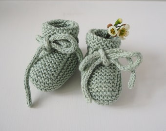Hand-knitted booties - 100% organic cotton