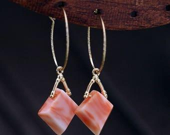 K14GF natural deep sea coral hoop earring, 14K gold filled, made in Japan