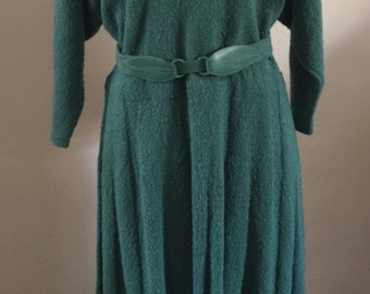 Vintage Handmade 1940's Belted Knit Dress Green Bat Sleeves.