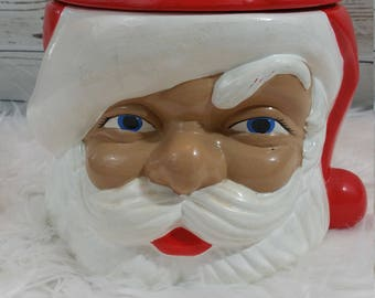 Vintage Santa Cookie Jar Christmas Holiday