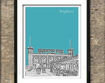 Brighton Pier Art Print Poster A4 Size Grand Pier Brighton Seaside England