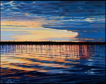 "Landscape Art Print - ""Evening Light"", Limited Edition Giclee Print on Fine Art Paper of Great Lake shoreline, ""12  x 16 """
