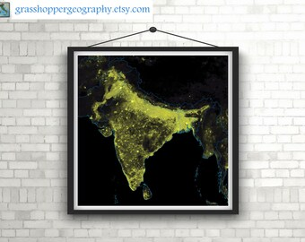 Population density heatmap of India (high resolution digital print) map print, wall art, poster map, printable, home decor, gift, wall decor