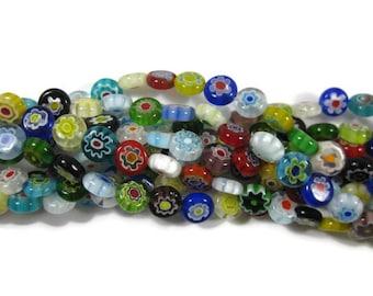 8 mm Round Flat Single Flower Millefiori Glass Beads Set of 50