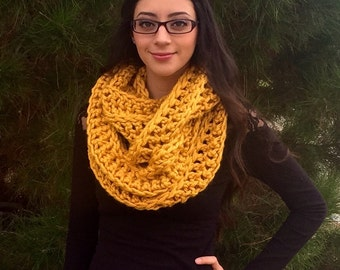 Chunky Cowl, Infinity Large Scarf, Crochet Cowl, Circle Scarf, Super Soft Mustard Yellow Scarf, Fall Fashion, Winter Fashion, Ready To Ship
