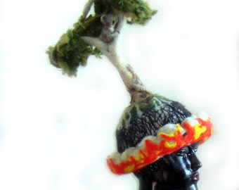 Textile Sclupture Art Hat Collectable Freeform Crochet Needlefelt