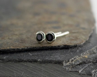 Black Spinel Studs, Black Stone Gemstone Earrings, Post Earrings, Stud Earrings, Minimalist Earrings, Silver Earrings, Handmade Earrings