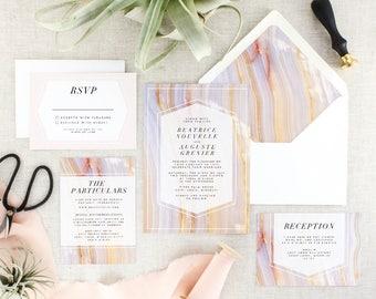 Boho Wedding Invitations Printed - Geode Wedding Invitation Suite - Bohemian Wedding Invitation Set - Blush Wedding Invite - Set of 10