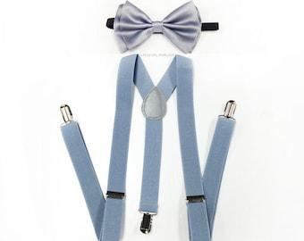mens suspenders, dusty blue suspenders, LIGHT grey bowtie, Dusty Blue, light gray suspenders, men suspenders, grey suspenders, french blue