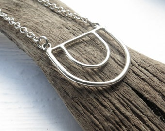 Long Geometric Necklace, Sterling Silver Necklace, Long Silver Necklace, Long Statement Necklace, Layering Necklace, Long Chain, Minimalist