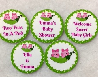 Set of 50/100/150/200 Personalized Two Peas In A Pod Girls Twins Baby Shower  1 Inch Confetti Circles