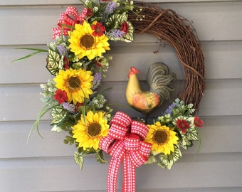 Rooster Wreath, Farmhouse Wreath, Kitchen Wreath, Sunflower Rooster Grapevine Wreath, Front Door Wreath, Country Wreath, Sunflower Wreath