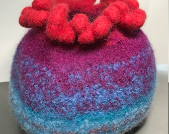 Large Felted Wool Bowl - Lady in Red