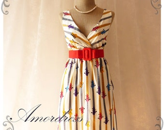 The Guitar - Spring Summer Dress Vintage Inspired Retro Chic Party Concert Holiday or Everyday Dress -Size S-M-