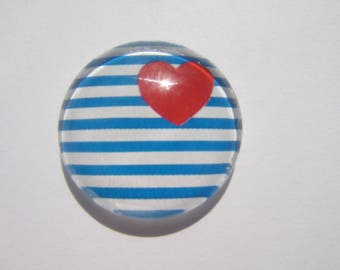 Cabochon 25 mm round domed with its blue and white sailor look with a red heart