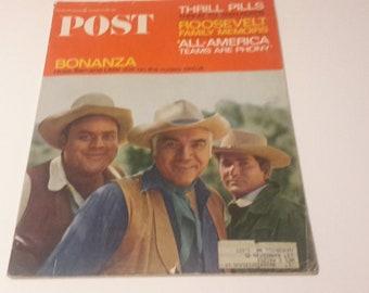 Bonanza post magazine 1965,66 ford falcon ad and chsterfield,Lorne greene