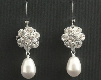 Pearl Drop Earrings, Rhinestone Dangle Bridal Earrings, Swarovski Crystal Flower Wedding Earrings, Bridal Jewelry -- BELLA