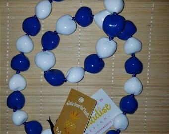 Hawaiian Kukui Nut Lei Necklace Royal Blue and White