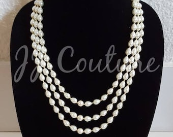 Designer Bollywood White Bead Multilayered Necklace Statement Necklace Indian Jewelry Jewellery Beaded Necklace