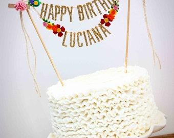 Glitter Gold Geburtstagstorte Banner - glücklich Birthday Cake Banner - personalisierte Kuchen Banner - benutzerdefinierte Kuchen Banner - Rainbow-Blumen