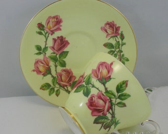 Royal Grafton Teacup & Saucer,  Lovely Red Rose Pattern on Crisp Borders, Gold Rims, Bone English China made in 1970s.