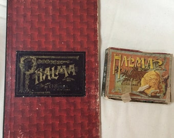 Antique vintage game Halma and board and game pieces 1888