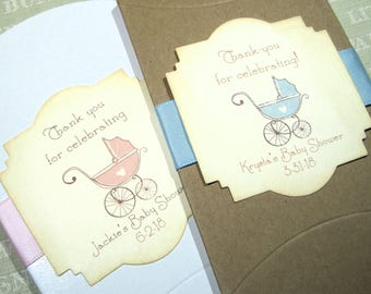 10 Baby Shower Favor Boxes - Pillow box - Personalized - Vintage Baby Carriage - Pink - Blue