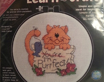 You're I'm Purrfect Cat Dimensions Learn a Craft Needlepoint Kit New Kitty Kitten