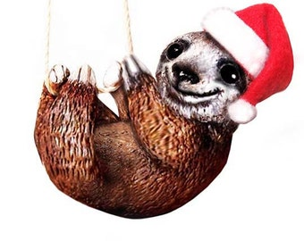 Christmas Sloth Ornament - Santa Sloth - Christmas Ornament - Made-to-Order