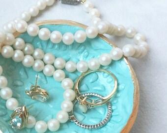 Small Ring Dish / Jewelry Bowl,  Classy Petite Handcrafted Feminine Jewelry Dish (boho, traditional, shabby chic, minimalist, gift)