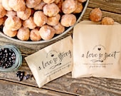 Wedding Favor Bags - Love so Strong & Love so Sweet - Personalized Donut and Coffee Favor Pair - 20 Kraft Grease Resistant Bags