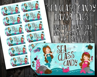 INSTANT DOWNLOAD - Sea Glass Candy Favor Tags - Mermaid Birthday Party - Treat Labels