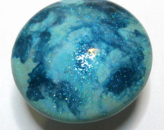 Custom made One of a Kind Furniture and Cabinet Knob-Aqua and Teal Marbleized with Metal Flake coating