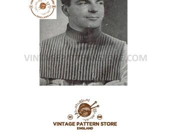 "Mans textured, v neck, sleeveless sweater vest tank top & windcheater polo neck insert - 34"" - 38"" chest - Vintage PDF Knitting Pattern 333"